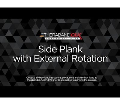 Side Plank with External Rotation Ending Position with TheraBand CLX